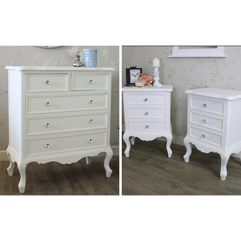 White Bedroom Furniture Chest Of Drawers Pair Of Bedside Tables