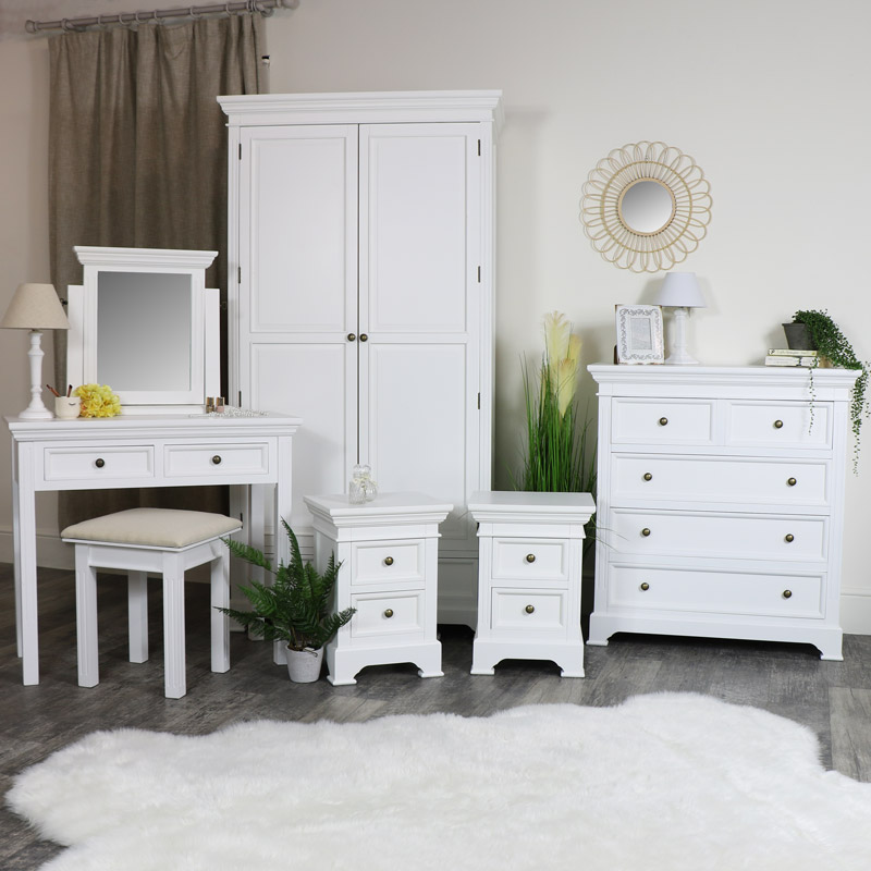 White Bedroom Furniture, Double Wardrobe, Chest of Drawers, Dressing Table Set and Pair of Bedside Chests - Daventry White Range