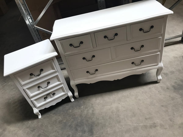 White Bedroom Furniture Large Chest of Drawers, and  Bedside Tables - Victoria Range SAMPLE 3028