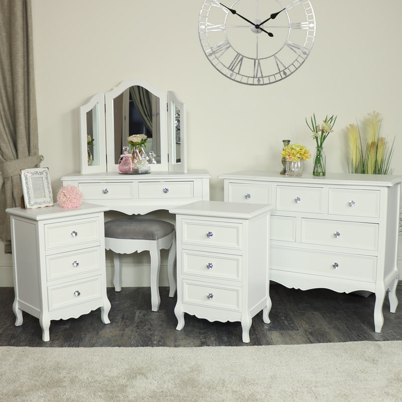 White Bedroom Furniture Large Chest Of Drawers Dressing Table Set