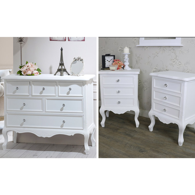 White Bedroom Furniture Large Chest Of Drawers Pair Of Bedside Tables Elise White Range