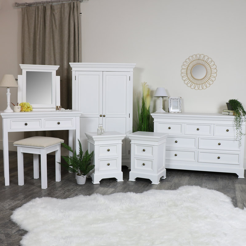 White Bedroom Furniture Linen Closet Low Wardrobe 7 Drawer Chest