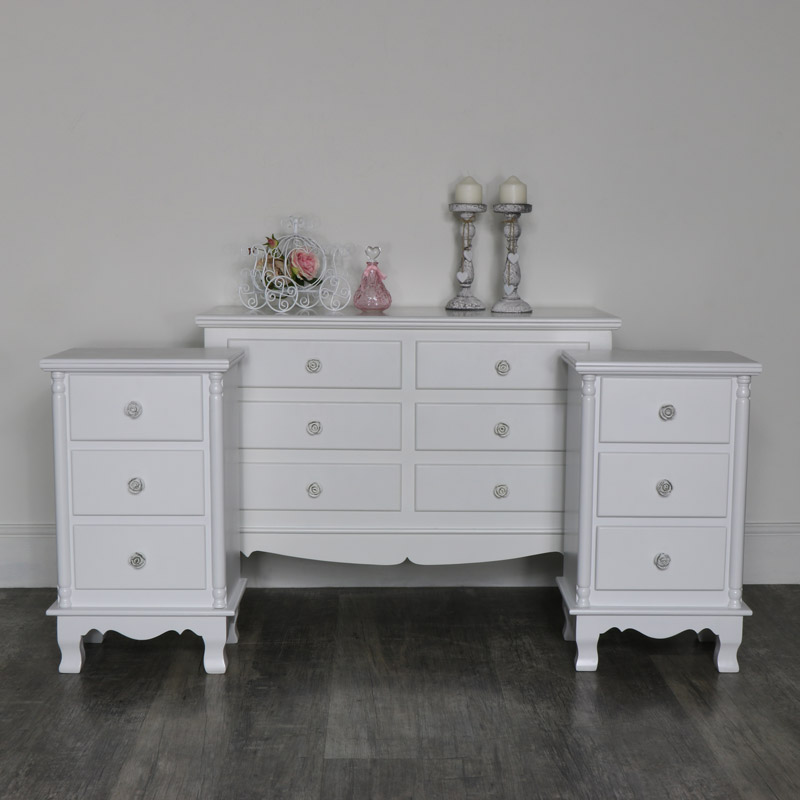 White Bedroom Set, Chest of Drawers and a Pair of Bedside Tables - Lila Range