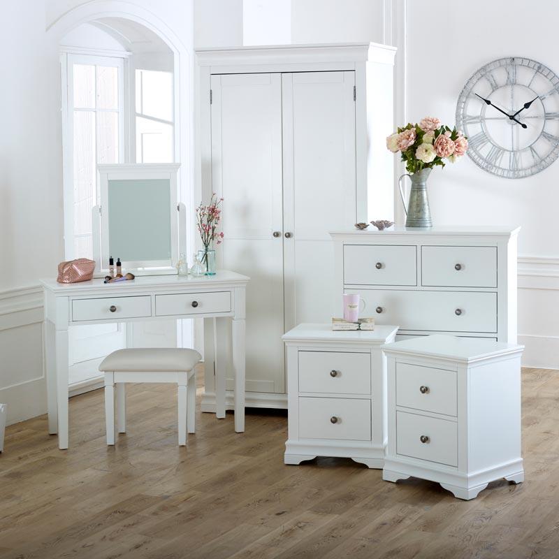 Large White Bedroom Set Newbury White Range Melody Maison