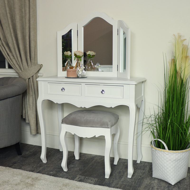 White Chest of Drawers, Dressing Table Set & Pair of Bedside Tables - Victoria Range