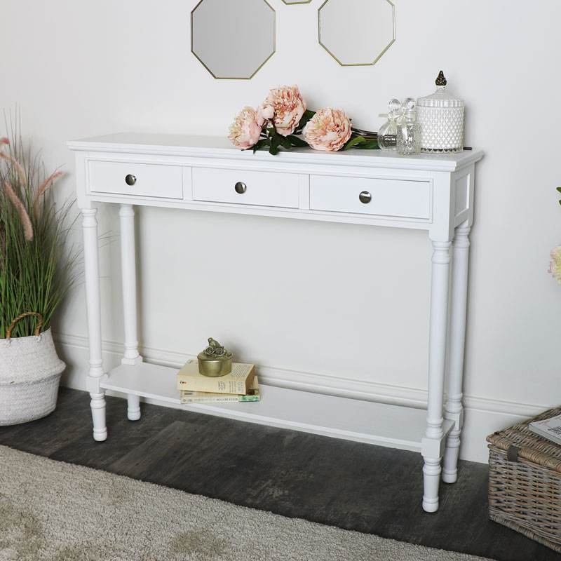 White Console Table With Shelf, White Console Table With Storage Baskets