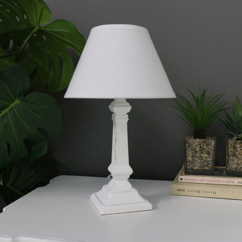 White Distressed Table Lamp With Shade
