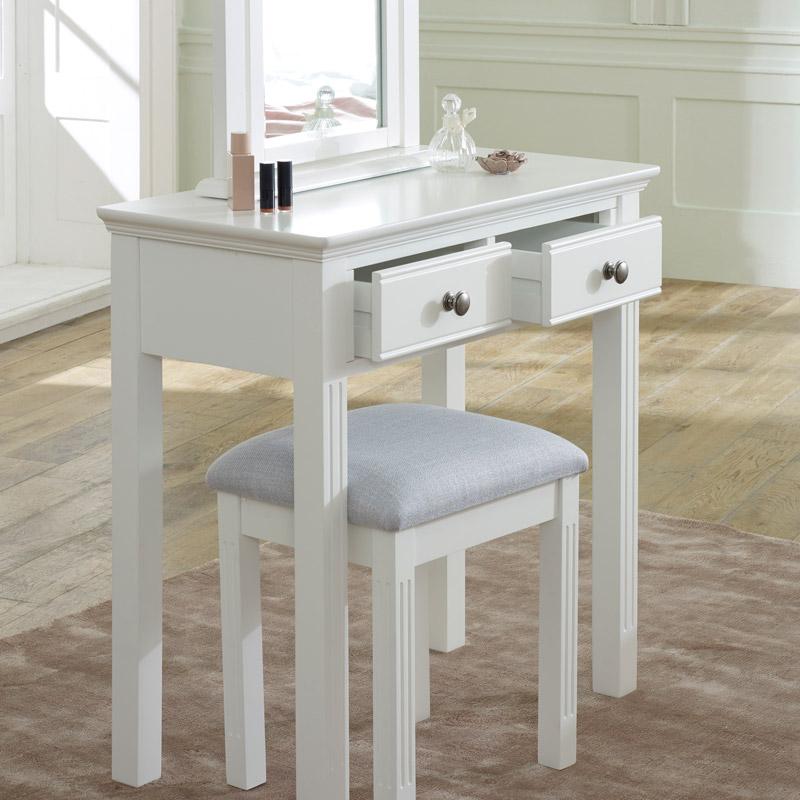 White Dressing Table, Mirror & Stool Set - Davenport White Range