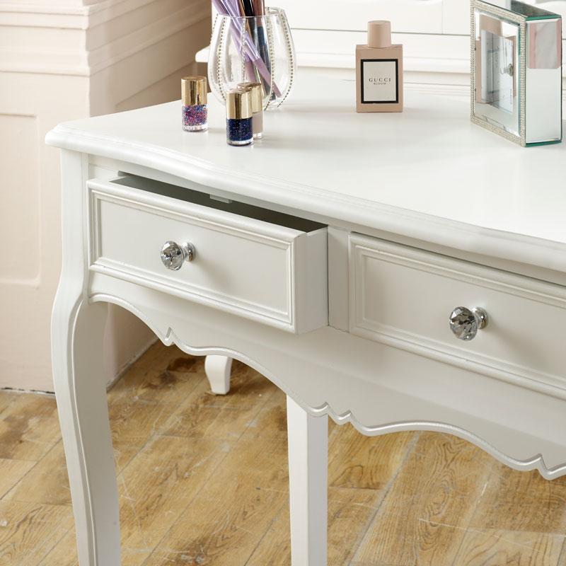 White Dressing Table, Mirror, Stool Set - Victoria Range