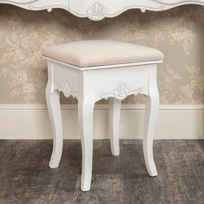 White Dressing Table Stool - Jolie Range