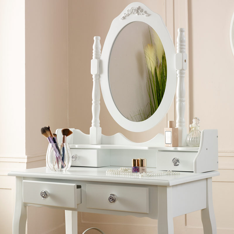 White Dressing Table, Stool & Mirror Set - Lila Range