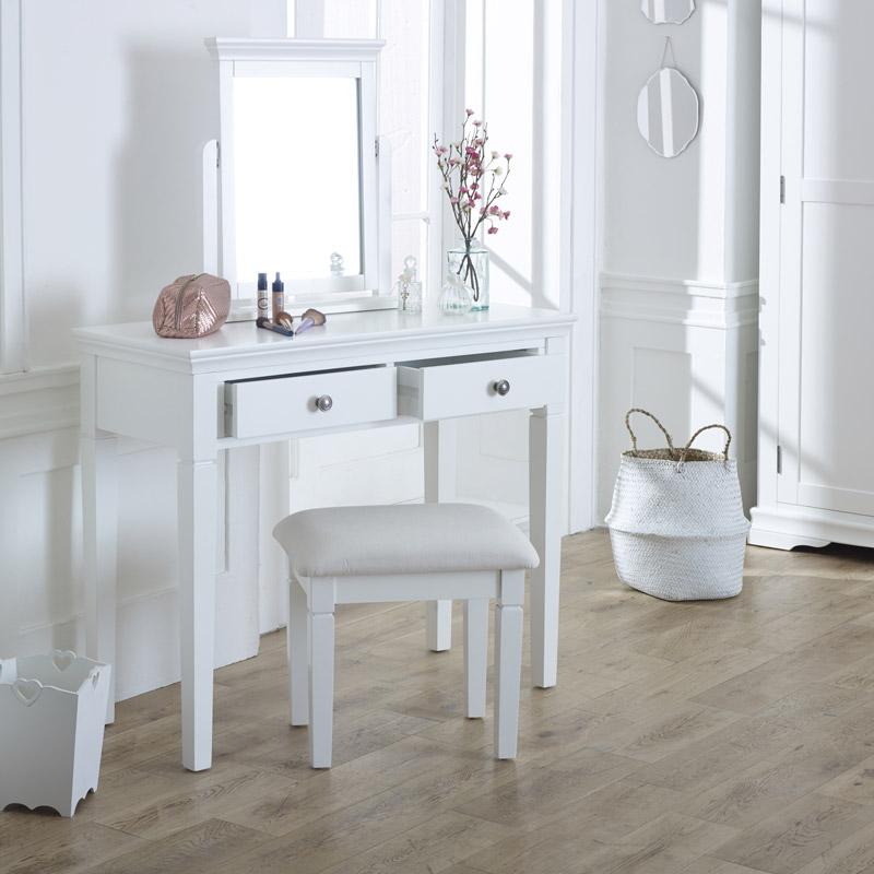 White Dressing Table, Vanity Mirror & Stool Set - Newbury White Range