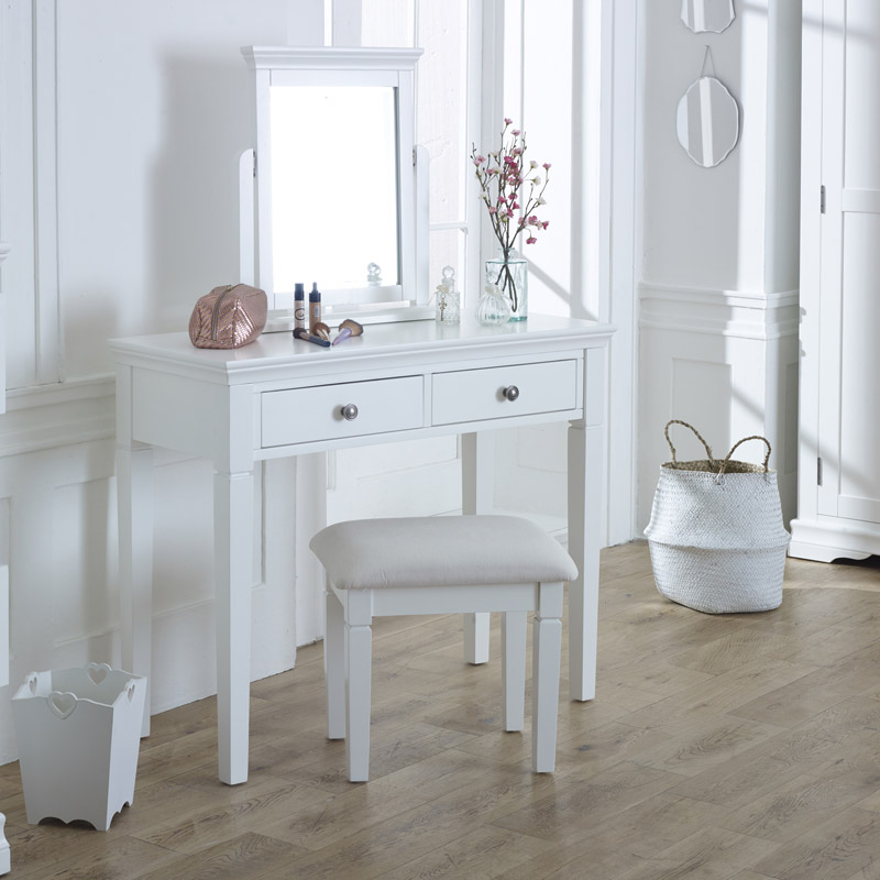 White Dressing Table Set Newbury White Range Melody