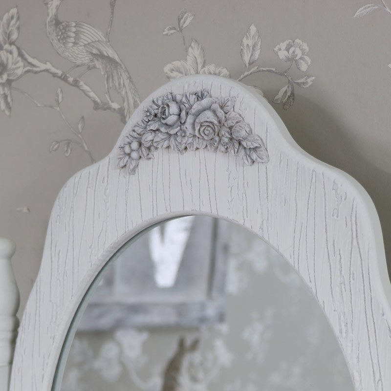 Large ornate white rose freestanding table top vanity mirror