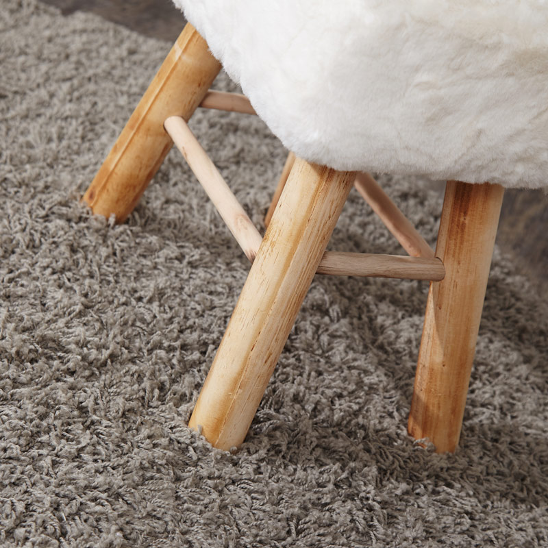 White Faux Fur Top Wooden Stool