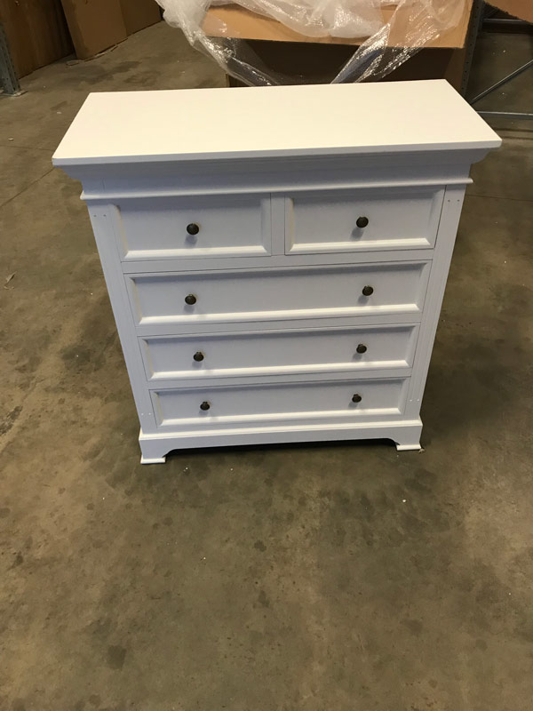 White Five Drawer Chest of Drawers - Daventry White Range DAMAGED SECOND 1027