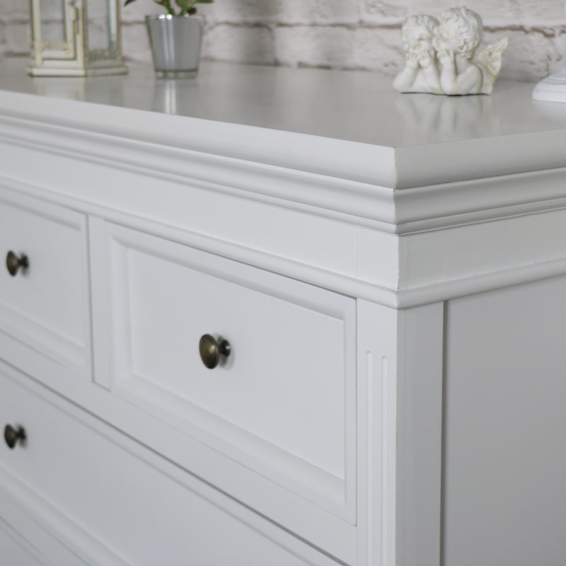White Five Drawer Chest of Drawers - Daventry White Range SECOND 0092