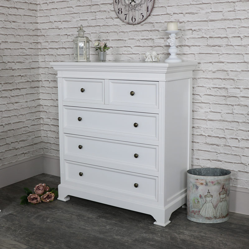white five drawer chest of drawers daventry white range melody maison. Black Bedroom Furniture Sets. Home Design Ideas