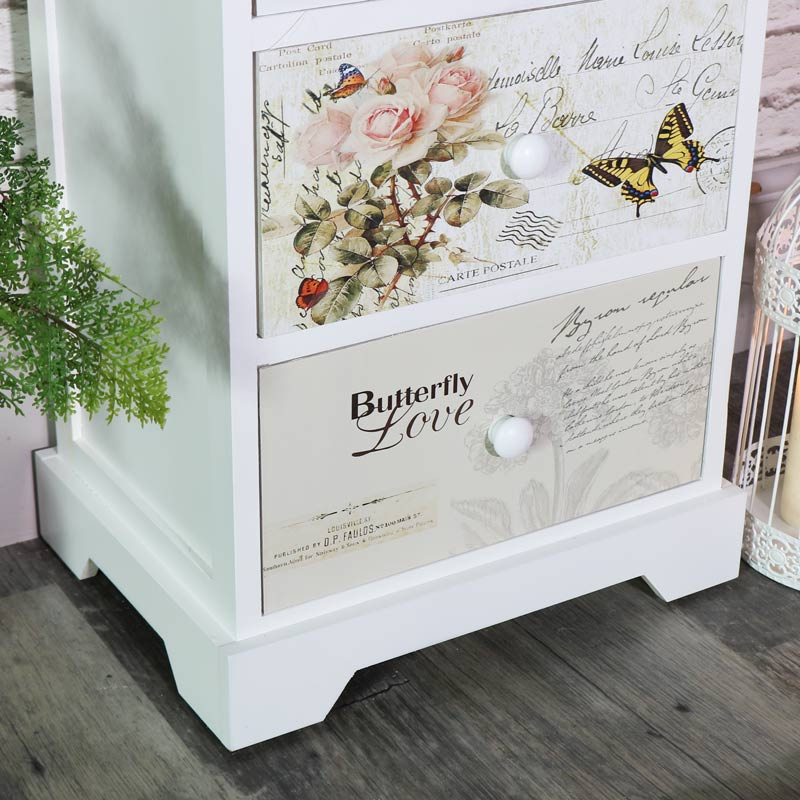 White Floral Butterfly 3 Drawer Bedside Chest - Mariposa Range
