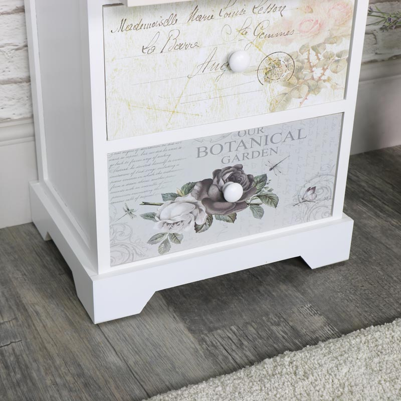 White Floral Butterfly 5 Drawer Tallboy Chest - Mariposa Range