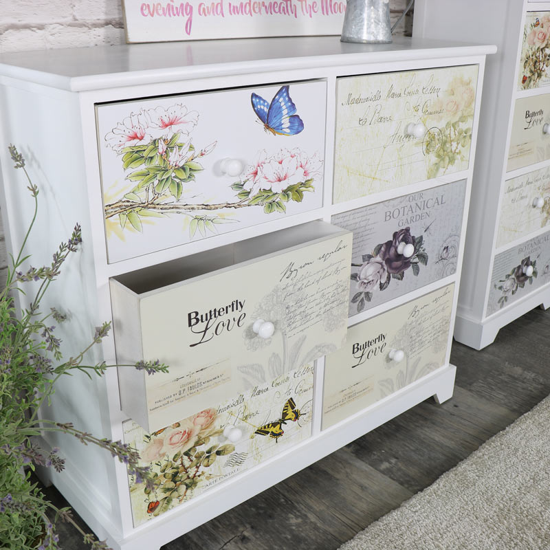 White Floral Butterfly 6 Drawer Chest of Drawers - Mariposa Range