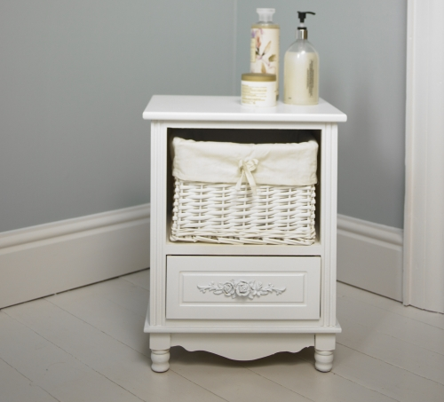 White Wooden Floral Storage Unit With Wicker Basket And Drawer Bedside Bathro