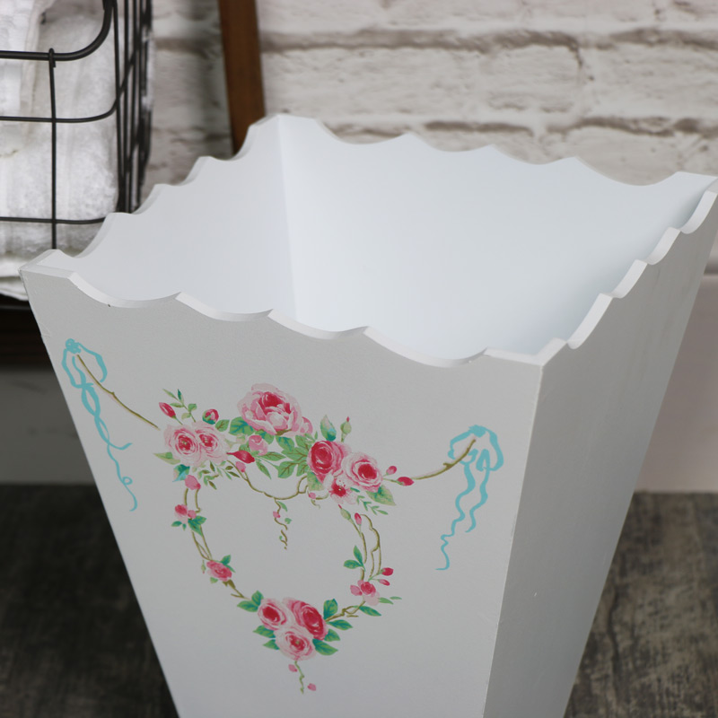 White Floral Waste Paper Bin