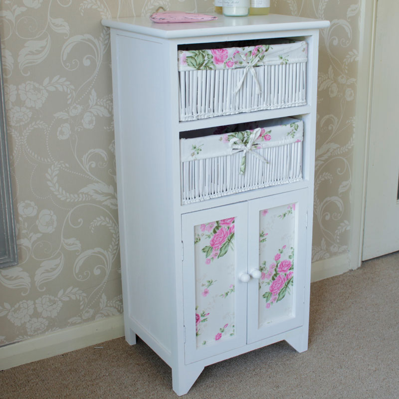 White Floral Wicker Basket Storage Unit With Cupboard