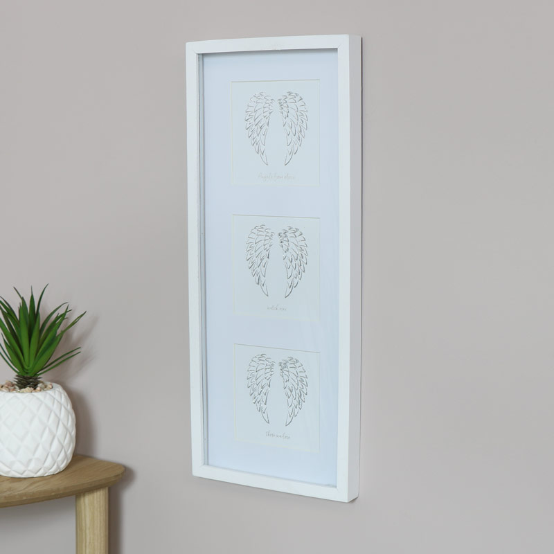 White Framed Silver Angel Wings Plaque