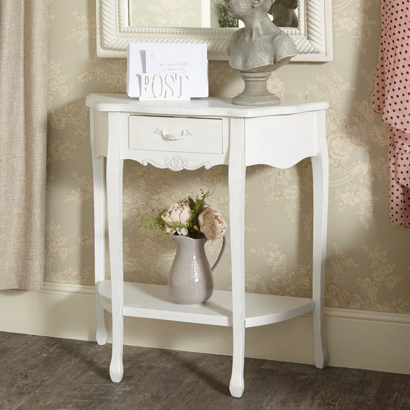 Distressed White Ornate French Chic Vintage Half-Moon Hall Table ...