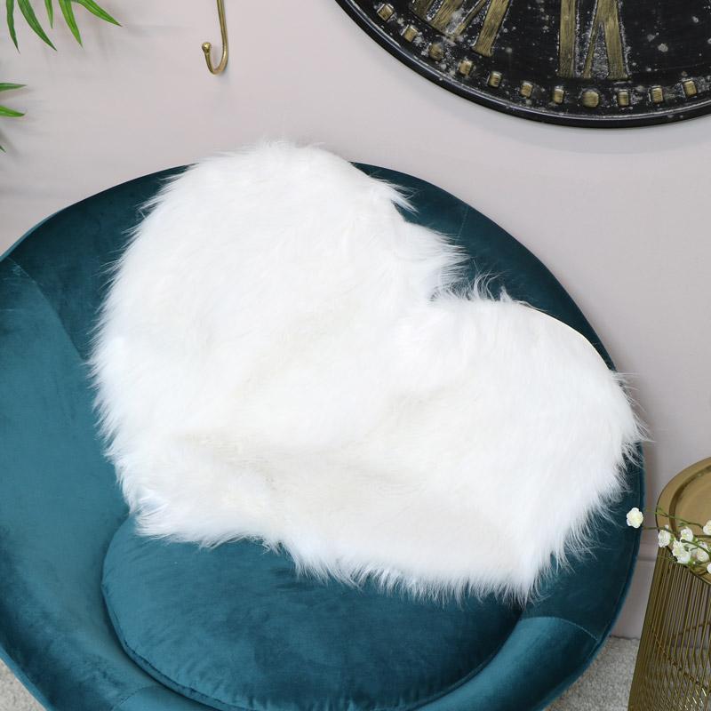 White Heart Shaped Faux Fur Rug