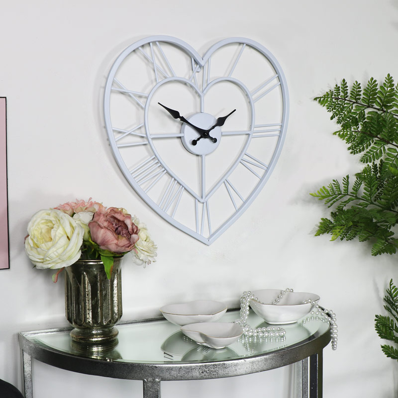 White Heart Skeleton Wall Clock