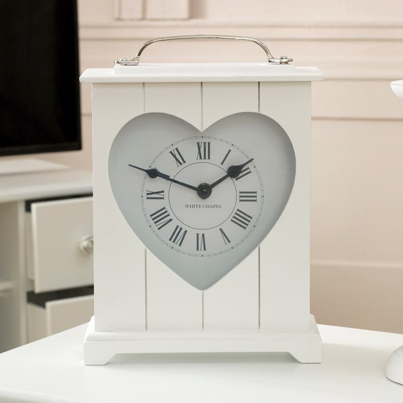 White Heart Wooden Mantel Clock