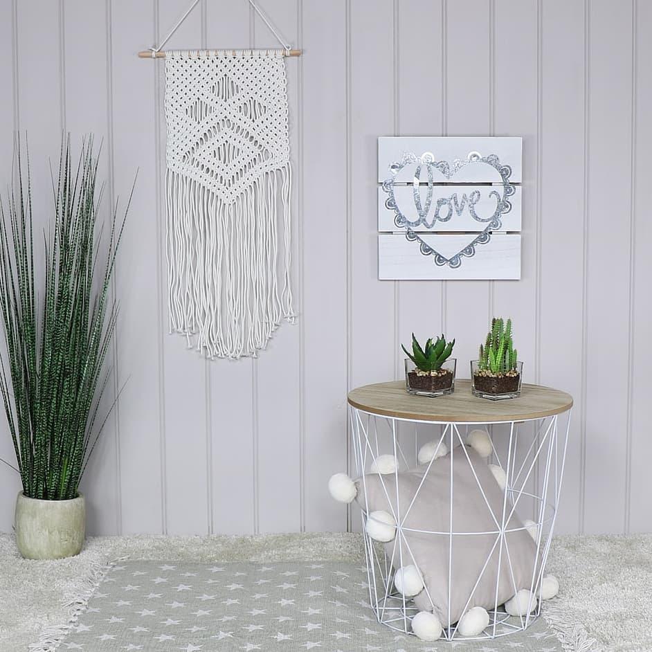 White Macramé Boho Wall hanging