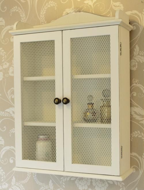 white mesh cabinet wall unit storage shabby vintage chic
