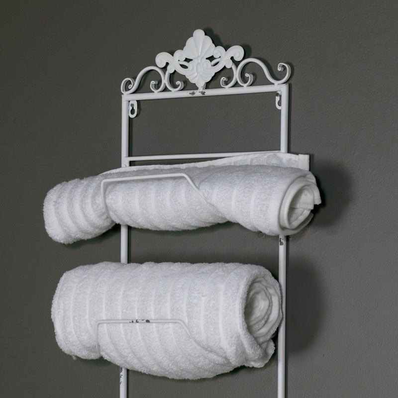 White Metal Bathroom Shelves Storage Unit