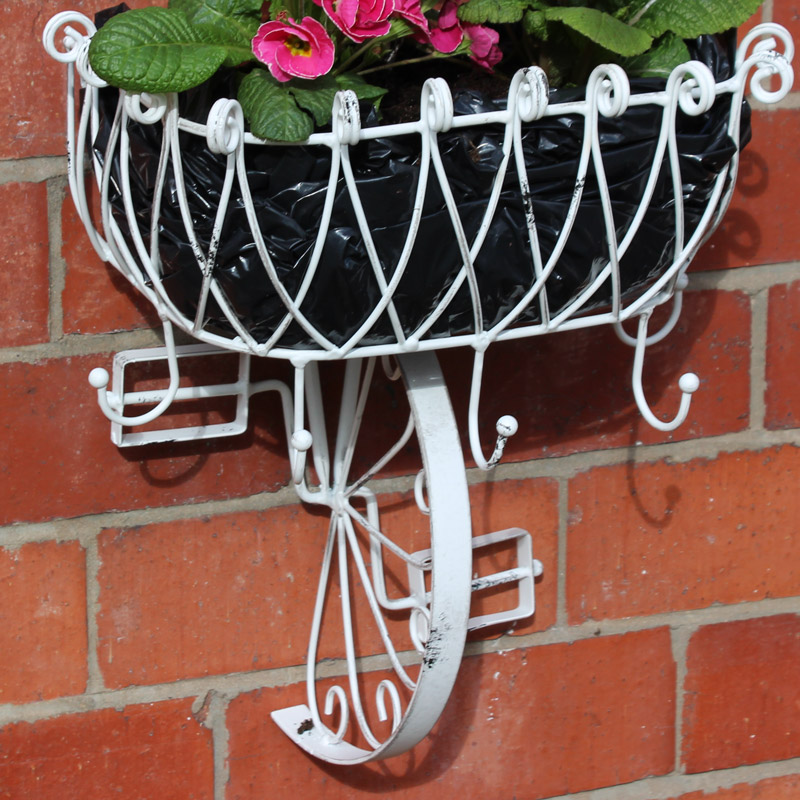 White Metal Bicycle Basket Wall Planter Melody Maison