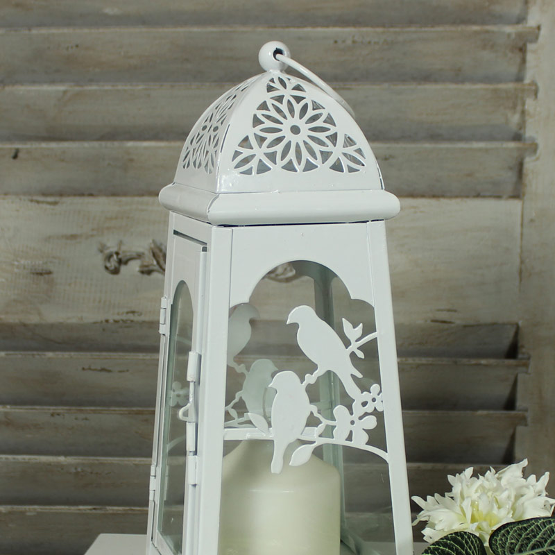 White Metal Bird Lantern