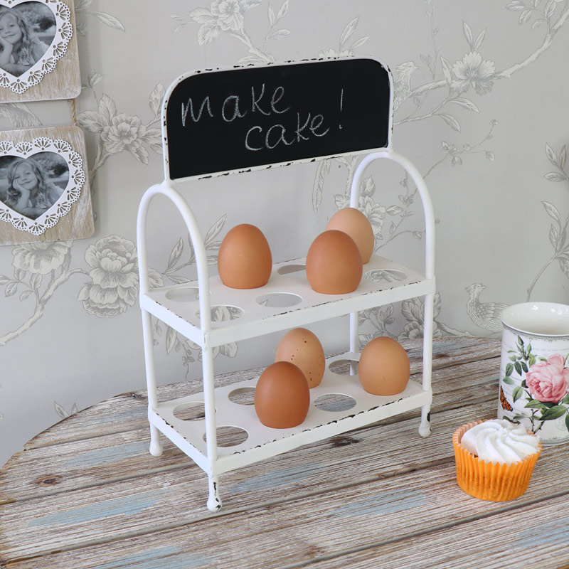White Metal Egg Rack with Blackboard