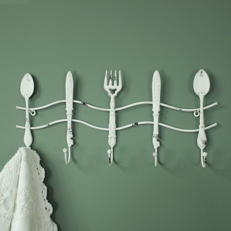 White Metal Kitchen Cutlery Wall Hooks Melody Maison