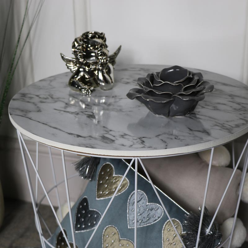 White Metal Marble Effect Topped Side Table Melody Maison 174