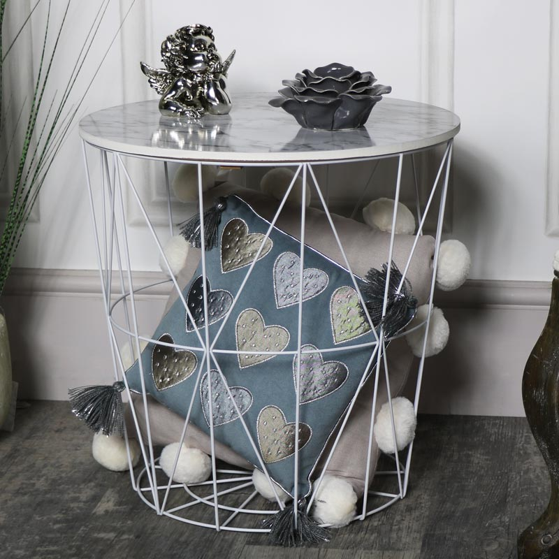 Wood marble effect wire basket side occastional table storage a great little side table that will make a great addition to your living room in a size that will fit right in just where you need it so would also look greentooth Images