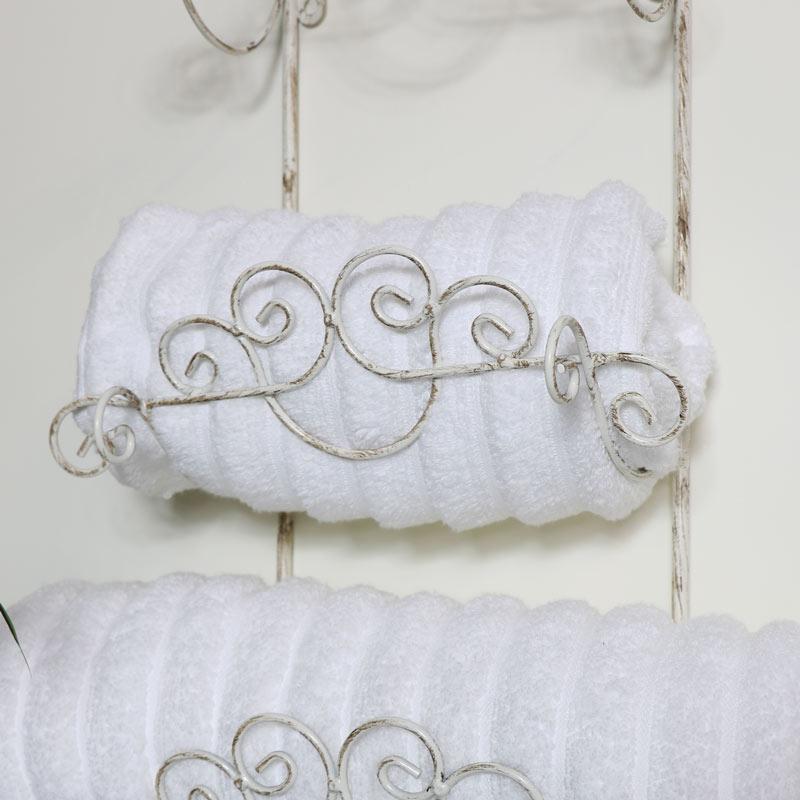 White Metal Towel Rack