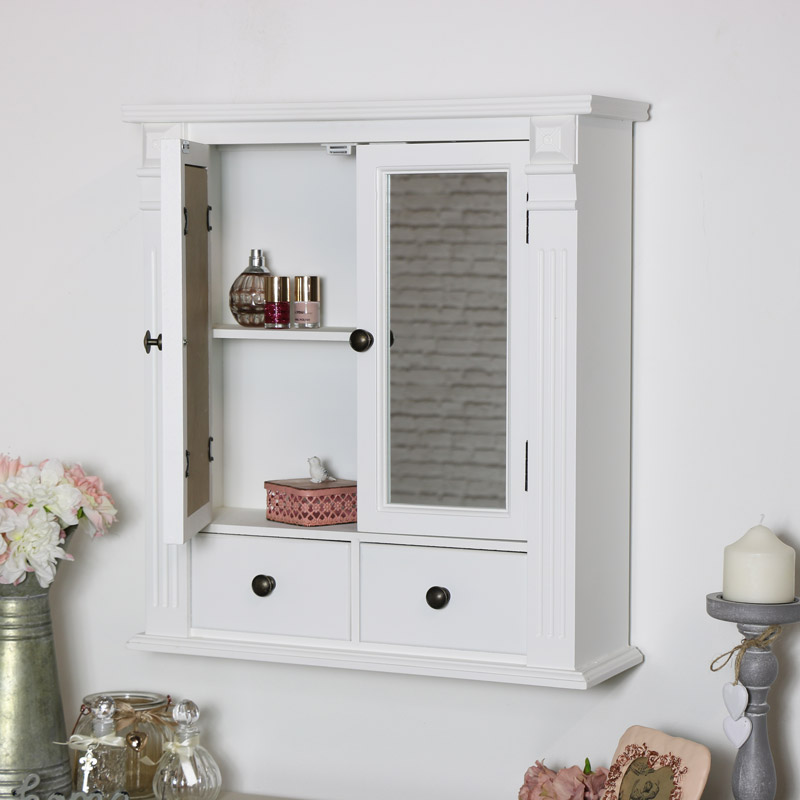 Mirrored Bathroom Cabinet | White Mirrored Bathroom Wall Cabinet Melody Maison