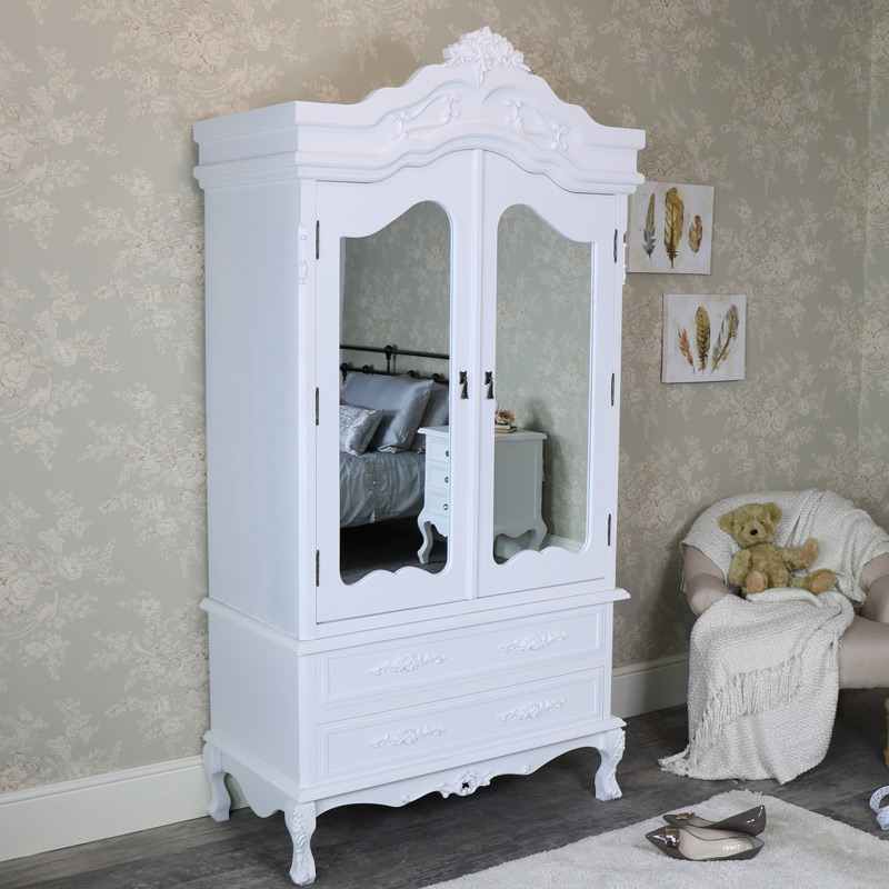 White Mirrored Double Wardrobe - Rose Range