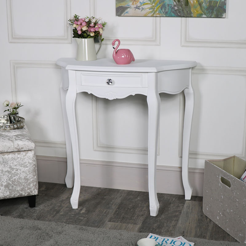 Exceptionnel White One Drawer Half Moon Console Table U2013 Elise White Range ...