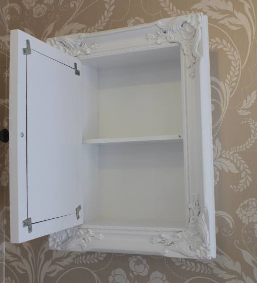 white bathroom storage cabinet with mirror shabby vintage. Black Bedroom Furniture Sets. Home Design Ideas