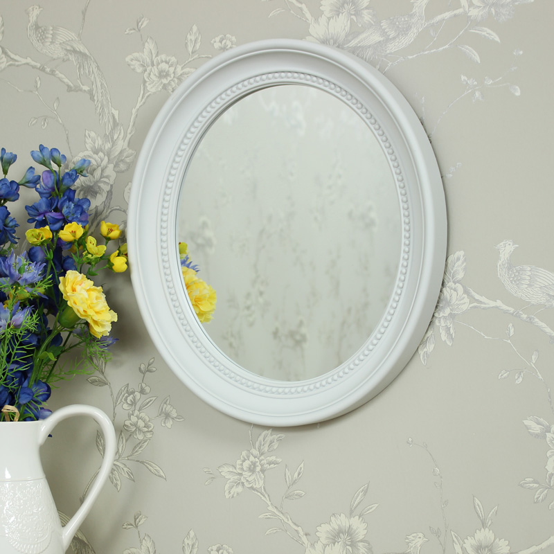 White Oval Bevelled Framed Wall Mirror Melody Maison