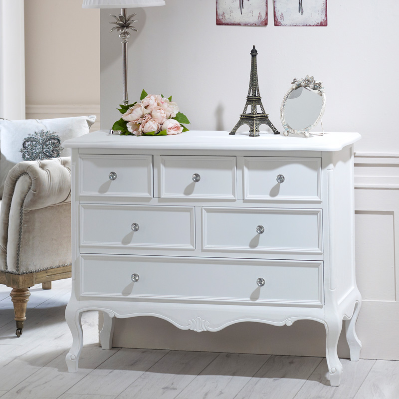 White Single Wardrobe, Dressing Table Set, Pair of Bedsides and Chest of Drawers - Elise White Range