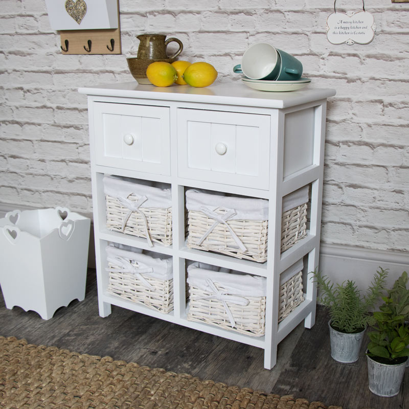 White Storage Unit - 4 Baskets/2 Drawers ... & White Wicker Storage Unit - 4 Basket/2 Drawer - Melody Maison®